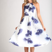Renee White and Navy Floral Halter Dress