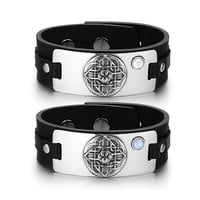 Wolf Paw Celtic Shield Knot Love Couples White Sky Blue Simulated Cats Eye Black Leather Bracelets