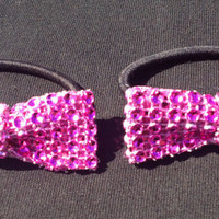 Set of 2 Hot Pink Bow Rhinestone Pigtail Ponytail Holders Cheer Dance