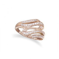 14 Karat Rose Gold Plated Sterling Silver CZ Wave Ring