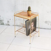 Small sidetable vinyl holder in wood and golden metal 50s