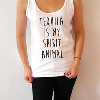 Tequila is my spirit animal Tank Top for women work out gym cute tops  saying gift to her alcohol slogan girls humor quote sassy fashion