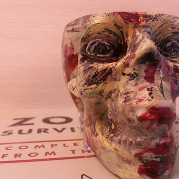 Hand Painted Skull Zombie Candle Holder or Shot Glass The Walking Dead