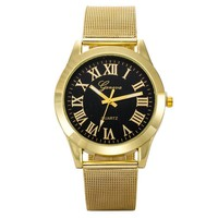 Great Deal Designer's Gift Good Price Trendy Stylish New Arrival Awesome Roman Stainless Steel Band Quartz Watch (With Thanksgiving&Christmas Gift Box)[6544813763]