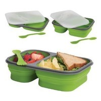 DCI Lunch Box with lid and Spork, 2 Compartment, Collapsible, BPA Free, Large, Assorted Green and Orange