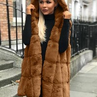 New Coffee Faux Fur Sleeveless Oversize Hooded Casual Coat