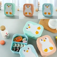 Plastic Cute Penguin Bento Box Kids Lunch Box Food Container Box Microwavable