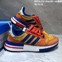 kuyou A353 Adidas Dragon Ball Z x Adidas ZX500 RM Boost SON GOKU Running Shoes Orange Blue Yellow