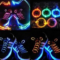 NEW! LED Battery Powered Glow in the Dark Shoelaces Shoe PARTY NIGHT Halloween