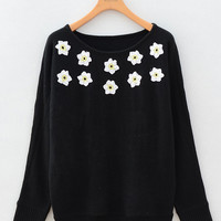 Long Sleeve Floral Embroidery Knitted Sweater