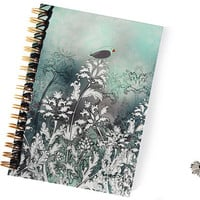 Sweet notebook with birds, flowers and gold spiral, sketchbook, journal