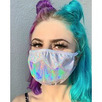 Holographic Silver Face Mask