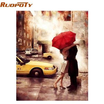 RUOPOTY Frameless Kissing DIY Painting By Numbers Modern Wall Art Picture Canvas Painting Unique Gift For Wedding Decoration Art