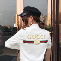 """Gucci"" Women Fashion Personality Letter Print Webbing Long Sleeve Zip Cardigan Baseball Clothes Jacket Coat"