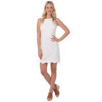 Charleston Scallop Dress in White by Southern Tide