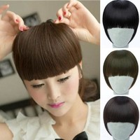 Pretty Girls Clip On Clip In Front Hair Bang Fringe Hair Extension Straight = 5658563777