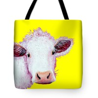 "Cow Art - Charolais on Yellow Tote Bag 18"" x 18"""