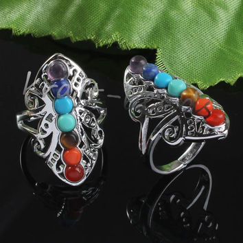 Trendy Silver Plated Stone Rings