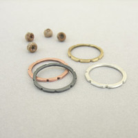 Set of 4 rings, mixed metal, stack rings, brass copper silver, minimalist stacking rings