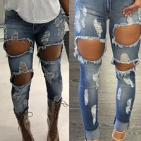 Ripped Holes Denim Skinny Pants [11716859407]