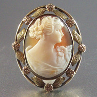 Vintage 10k Gold Filled Cameo Brooch Pendant, Plainville Stock Co, Carved Shell, 2 Tone Yellow Rose Gold