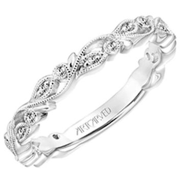 """Artcarved """"Florence"""" Thin Antique Style Diamond Band Featuring Leaf and Scroll Details"""