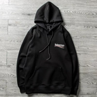 Balenciaga New fashion bust side letter print and back letter print couple hooded long sleeve sweater Black