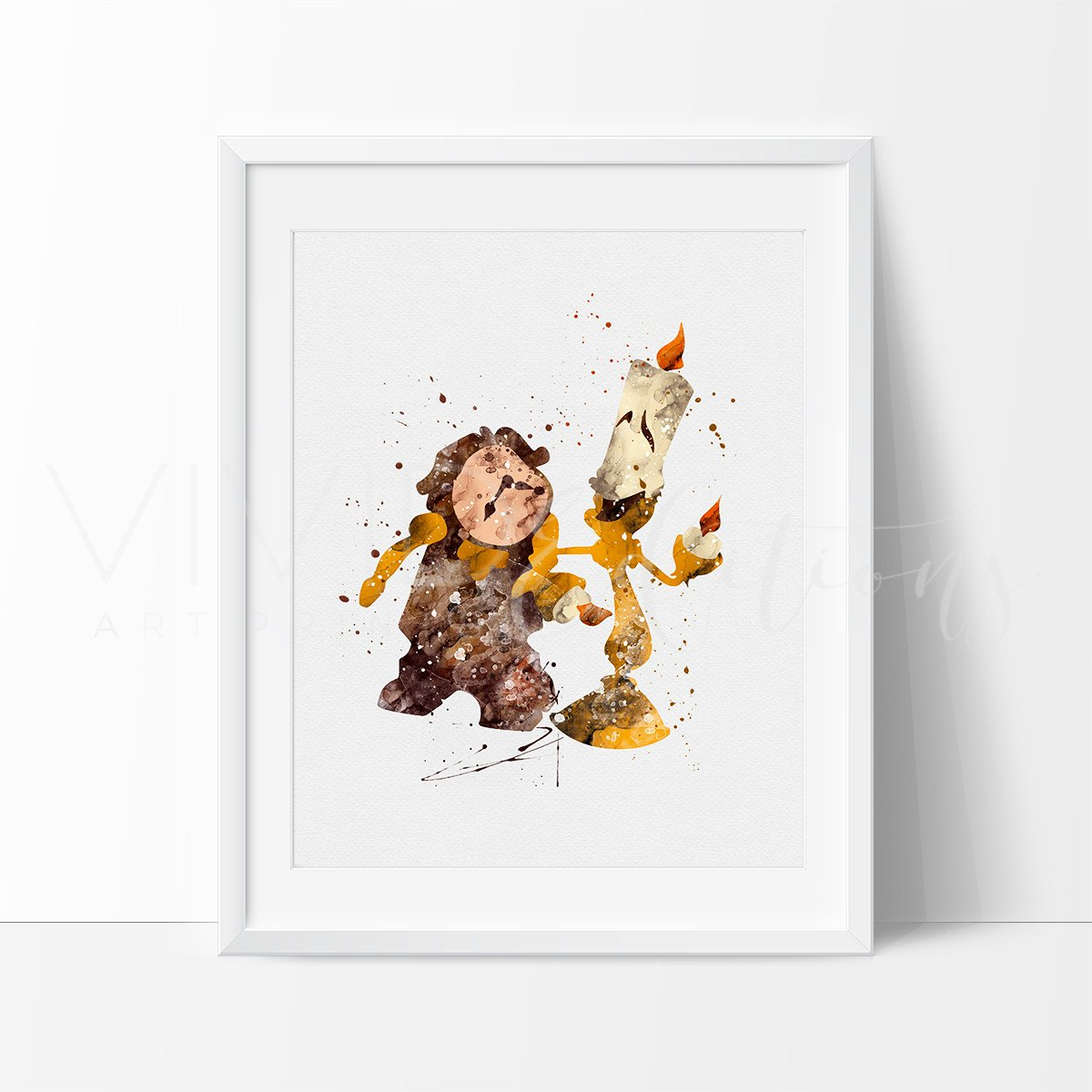 Image of Lumiere & Cogsworth, Beauty and the Beast Watercolor Art Print