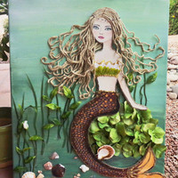 Mermaid Wall Decor Original Mixed Media Beach Art. Blonde Hair, Blue eyes, AcrylicPainting on Canvas 16X20 inches
