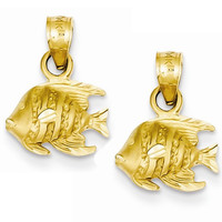 14k Yellow Gold Reef Fish Hoop Earring Charms