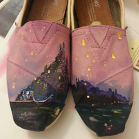 Disney Tangled hand painted TOMS shoes