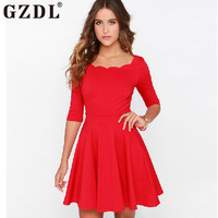 Women Dress Half Sleeve Two Layers Sewing Scallop Boat Neck Tunic Slim A-line Dress
