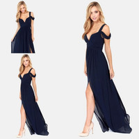 Sexy Ocean Of Elegance Navy Blue Low Cut High Slit Chiffon Semi Formal Long Event Dress Prom Dress Women Gown Free Shipping