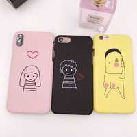 Mouplayca love bay girl Cases For Apple Iphone X (10)iphone7 7plus matte hard Back cover cartoon for iphone 8 8plus phone case
