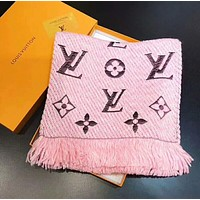LV Louis Vuitton Trending Women Tassel Embroider Easy To Match Scarf Scarves Shawl Pink I-YH-FTMPF