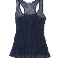 Sheer Chiffon Pleated Tank