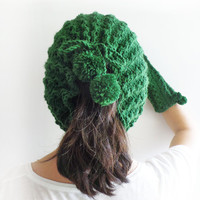Green Pompom Hat, Chunky Hat, Women Accessories