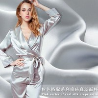 Red Series 100% Mulberry silk  16.5 mm Print silk crepe satin fabric Clothing fabric high - grade silk dress shirt  H170203