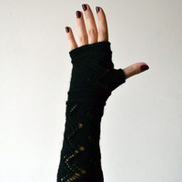 Black Lace Knit Fingerless Gloves - Lace Fingerless Gloves - Fashion Gloves - Feminine fingerless - Gift nO 115.