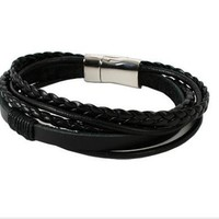 Hot Sale Great Deal Awesome Shiny Gift Stylish New Arrival Leather Men Punk Accessory Ring Bangle Bracelet [6526715395]