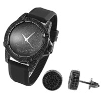 Men's Hip Hop  Techno Pave Black Gold Tone Watch & Earrings Combo