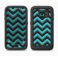 The Turquoise-Black-Gray Chevron Pattern Full Body Samsung Galaxy S6 LifeProof Fre Case Skin Kit