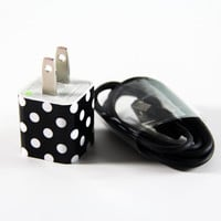 Black and White Polka Dots USB iPhone Charger Adapter Cable for iphone 4s/4/5/5s/5c Samsung HTC Android