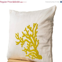 Valentine SALE Decorative pillow with yellow coral on ivory white silk in beads -Oceanic pillow -Ivory white pillow -Embroidered Pillow- 14x