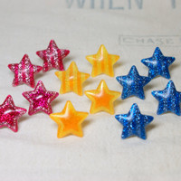 Choice of Glitter Star Post Earrings Sparkly Studs Bright Pink Blue Yellow