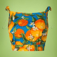 50s Laneway Top in Orange and Blue
