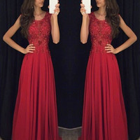 Custom Made Round Neck Long Lace Prom Dresses, Lace Formal Dresses, Evening Dresses