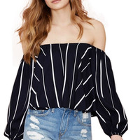 Black Striped Long Sleeve Off Shoulder Blouse