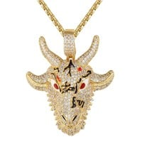 Men's  Animal Goat Face Rapper Enamel Pendant Necklace
