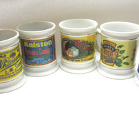 Vintage Corner Store Coffee Mugs Morton Salt Bon Ami Ralston Heinz Pickle Whitmans Cups 1982 Set of 5